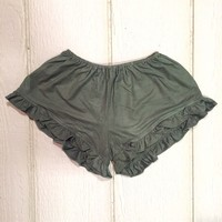 Vee Velvet Ruffle Shorts in Olive - Shorts - Clothing