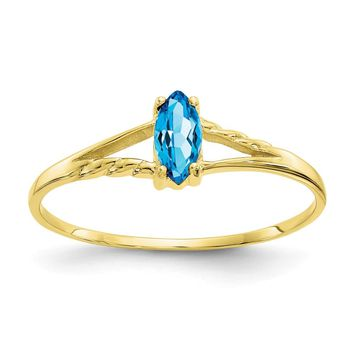 10K Yellow Gold Polished Geniune Blue Topaz Birthstone Ring