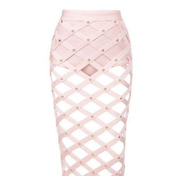 PEAPIH3 Spring new rivet nail bead grid hollow-out split skirts package buttocks short skirt pink two-piece outfit