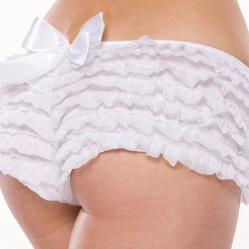 White Ruffled Booty Shorts in OS