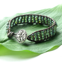 Leather wrap bracelet - turquoise aqua Picasso glass beads - silver flower button