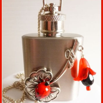 The Stash Flask, Ladybug Leaf Hip Flask Necklace, Stainless Steel, Sweet Novelty Necklace