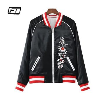 Fitaylor Embroidery Leather Jacket Women Bomber Jacket Soft PU Slim Patchwork Print Letter Biker Jackets Aviator Coat