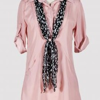 Heartbreaker Etiquette Split Collar Blouse in Cameo Pink | Sincerely Sweet Boutique