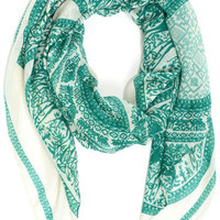 Near and Deer Green Print Scarf