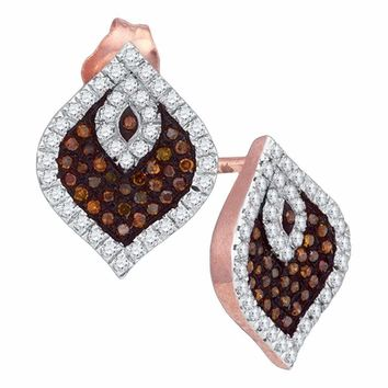 10k Rose Gold Women's Red Diamond Stud Cluster Spade Earrings - FREE Shipping (US/CA)