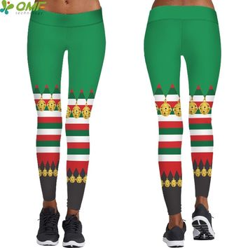 Christmas Patterns Female Yoga Pants High Waist Fitness Sports Trousers Santa Elf Cosplay Green Tayt Pants Popular Skinny Tights