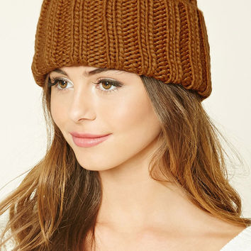Purl Knit Fold-over Beanie