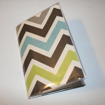Passport Cover / Holder / Case - chevron blue gray lime zig zag zigazg