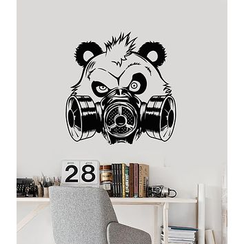 Vinyl Wall Decal Bear Panda Head In Gas Mask Teen Room Decoration Stickers (3222ig)