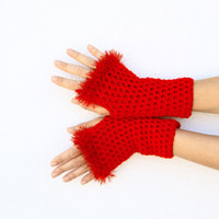 Fingerless gloves fashion for her in red, Handie Fingerless Gloves