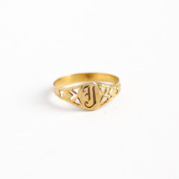 Sale - Vintage Art Deco 10k Yellow Gold Letter J Signet Baby Ring - 1920s Size 2 Initial Monogrammed Midi Old English Engraved Fine Jewelry