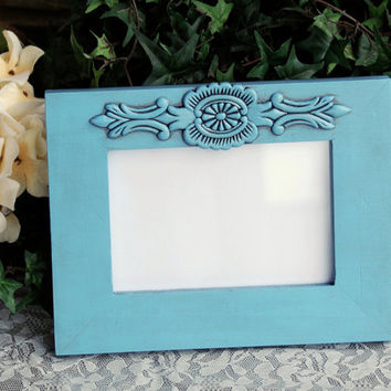 French country 4x6 photo frame: Vintage antique light blue hand-painted embellished wooden tabletop picture frame for the home