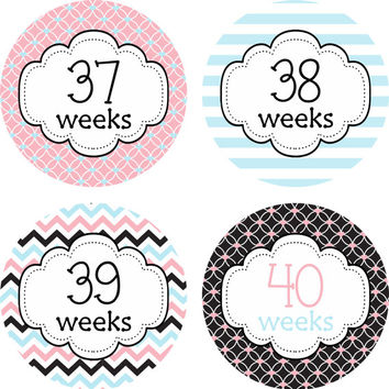 Pregnancy Stickers Week Baby Bump Stickers Weekly Belly Stickers Pink Blue Black Chevron Stickers Expectant Moms Maternity Photo Prop -