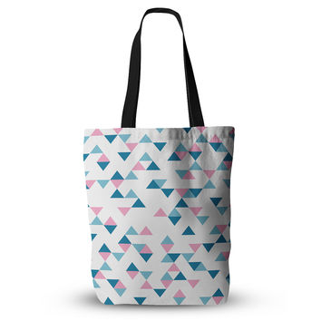 "Project M ""Triangles Pink"" Blush Blue Everything Tote Bag"