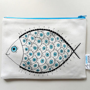 Fish Pouch, Zipper Pouch , Nautical cosmetic bag, pencil case, clutch