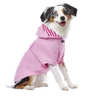 PupCrew Light Pink Raglan with Hot Pink Striped Pocket Hoodie, Extra Small | Petco Store