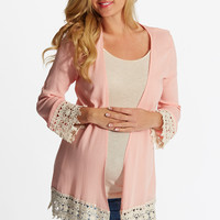 Peach-Linen-Crochet-Trim-Maternity-Cardigan