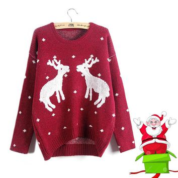 ugly christmas sweater women xmas deer embroidery tricot female o-neck long sleeve winter jersey ladies wine red knitwear