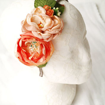 Flower headband Peach ivory Flower crown Floral hair piece Boho bridal headpiece Orange fascinator Girls photo props Flower girl Gift idea