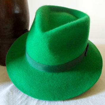 Green Wool Felt Fedora - Wide Brim Merino Wool Felt Handmade Fedora Hat - Men Women