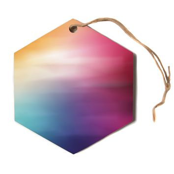 "Chelsea Victoria ""Color Rush"" Multicolor Love Hexagon Holiday Ornament"