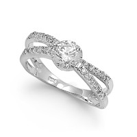 925 Sterling Silver CZ Promise Round Center Ring 6MM