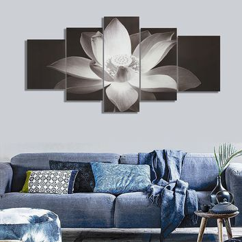 5Pcs HD Water Lily Picture Canvas Painting Modern Home Wall Decor No Frame