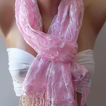 Pink -  Elegance  Shawl / Scarf with Lacy Edge..Tulle Scarf