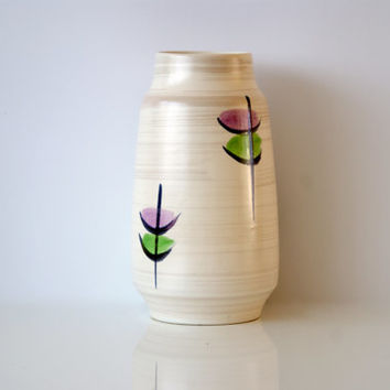 WEST GERMAN POTTERY Vase, Bay Keramik 660-20, Abstract Floral, Purple or Pink and Green Abstract Flowers, Cream and Black, Made in Germany