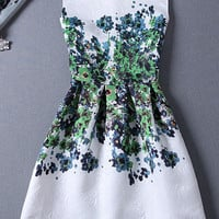 Green Floral Jacquard Skater Dress