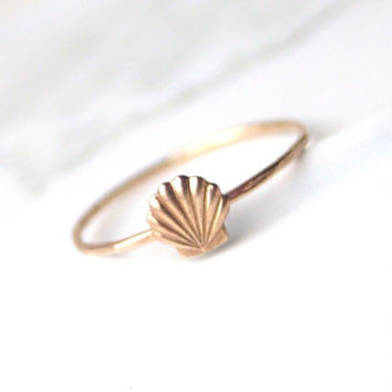 Brass Little Shell Ring by proteales on Etsy