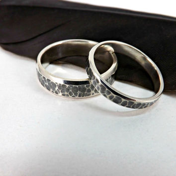 rustic wedding ring set two silver rings hammered surface polished sides domed ring band 5mm wide handmade ring set