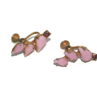 Vintage Pink Stone Screw Back Earrings