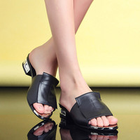 Women Plating Genuine Leather Slides Sandals Chunky Heel Pumps 5871