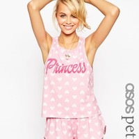 ASOS PETITE Princess Heart Cutout Vest & Short Pyjama Set