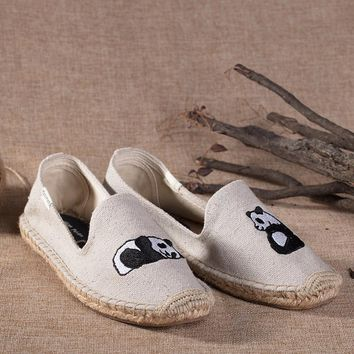 Soludos Women Platform Panda Embroidery Slipper