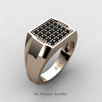 Mens Modern 14K Rose Gold Micro Pave Black Diamond Designer Ring R326M-14KRGBD