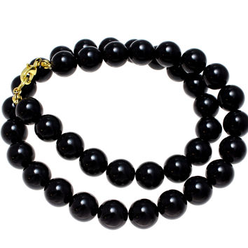 "GENUINE NATURAL BLACK CORAL BEAD BALL STRAND NECKLACE 12MM 16""- 32"""