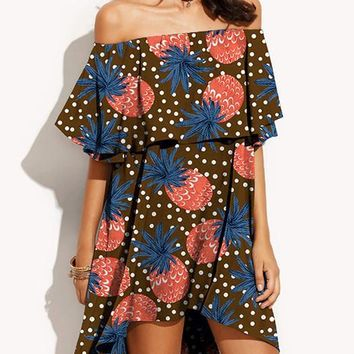 Shoulder Pineapple Print Hi-low Mini Beach Dress