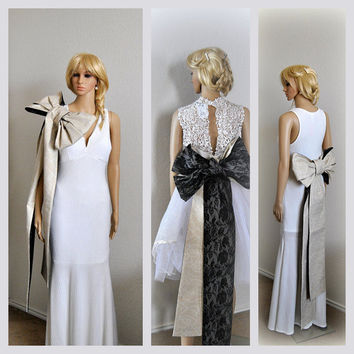 Obi Bow Accessory Overskirt Detail Overlay Detachable Wedding Dress Gown Accessories