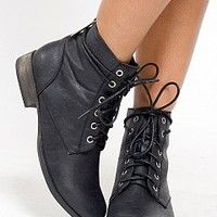 GEORGIA-43-8-4 Lace-Up Ankle Booties Women Boots BLACK Bare Feet Shoes