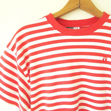 5e380c106 Vintage HANG TEN Red Striped FOOTPRINT Embroidered T Shirt Sz M