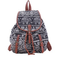 Women's Elephants Aztec Pattern Buckle Flap Backpack