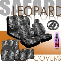 Yupbizauto Brand 16 Pieces Premium Quality Yupbizauto Brand Safari Snow Leopard Print Low Back Front Car Seat Covers, Rear Bench Cover, Seat Belt Covers, Steering Wheel Cover, 4 Pieces Carpet Floor Mats and a 2 Oz Travel Size Purple Slice Car Wash Free Det