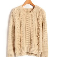 Nude Cable Sweater with Vent Details