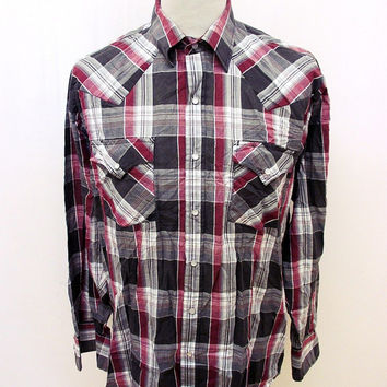Retro Grey Red Ely Western Popsnap Shirt Large