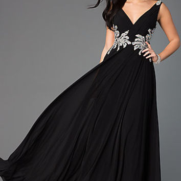 Sleeveless Long V-Neck Gown from JVN by Jovani