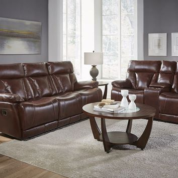 Italian Leather Athens Brown Power Reclining Sofa and Loveseat
