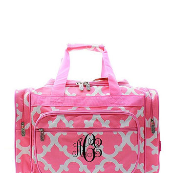 Monogram duffle bag/Personalized Gray n Pink Chevron duffle bag/gym/travel bag/weekender/dance bag